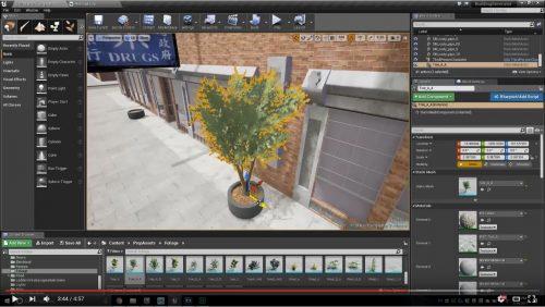 Etat des lieux du contructeur : écran du logiciel sous Unreal engine 4