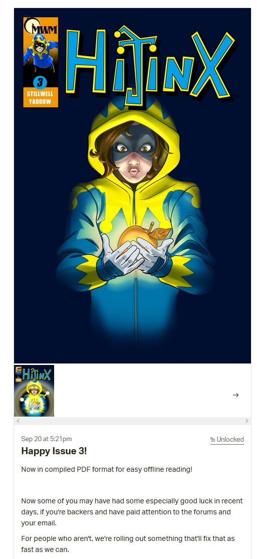capture d'écran du message la publication du numéro 3 d'Hijinx site Patreon
