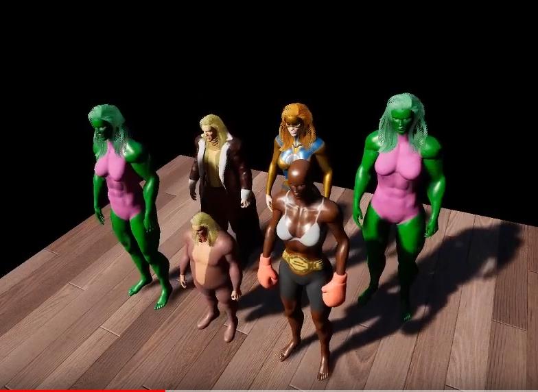 groupe de personnages préchargés et changement rapide de costumes