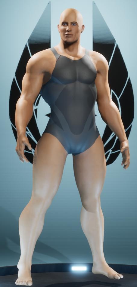 Personnage de City of Titans aux proportions typiques des supers héros dans les comics