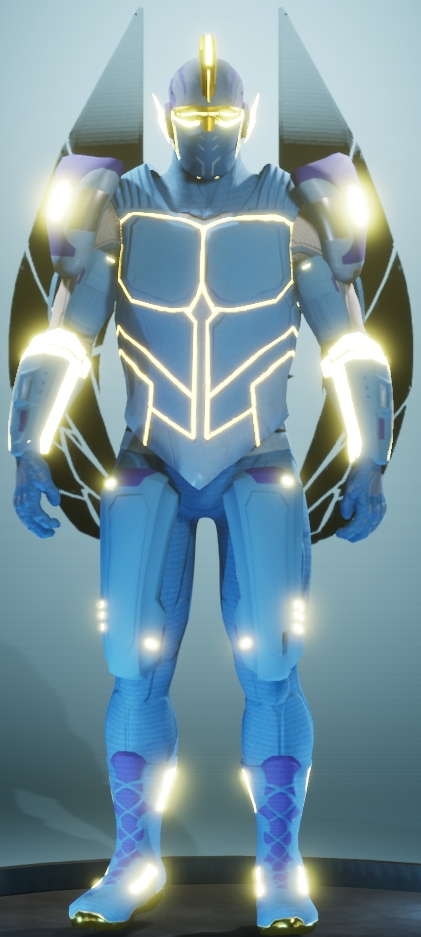 exemple de costume armure bleue et brillante