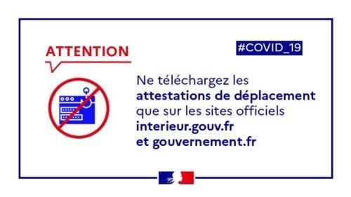 covid-19 ne télécharger que les attestations de déplacement sur le site du gouvernement.