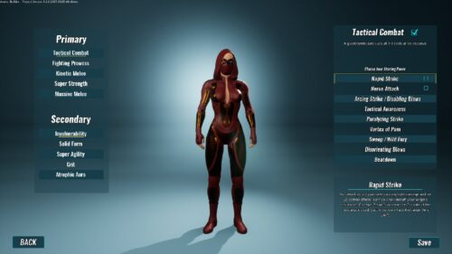 écran de sélection des pouvoirs primaires et secondaires de city of titans sur mac