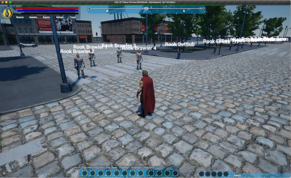 city of titans - test de ciblage sur mannequins Rooks - pnj de combat